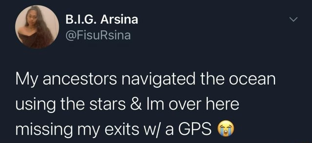 B.1.G. Arsina FisuRsina My ancestors navigated the ocean using the stars  and  Im over here missing my exits GPS memes