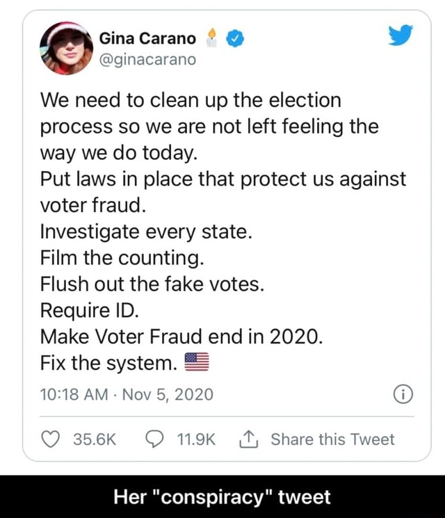 Gina We need to clean up the election process so we are not left feeling the way we do today. Put laws in place that protect us against voter fraud. Investigate every state. Film the counting. Flush out the fake votes. Require ID. Make Voter Fraud end in 2020. Fix the system. AM  Nov 5, 2020 356K Q 119K Share this Tweet Her conspiracy tweet  Her conspiracy tweet memes