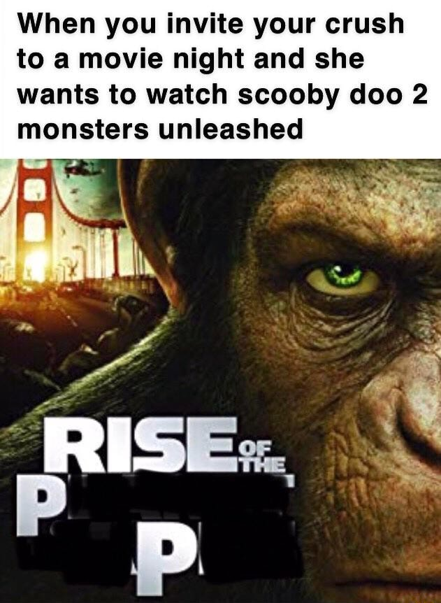 When you invite your crush to a movie night and she wants to watch scooby doo 2 monsters unleashed memes