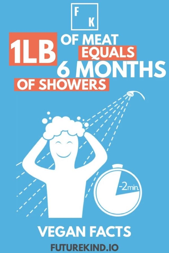 OF MEAT EQUALS ILB. OF MONTHS OF SHOWERS VEGAN FACTS FUTUREKIND.IO memes