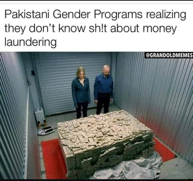 Pakistani Gender Programs realizing they do not know shit about money laundering GRANDOLDMEMES