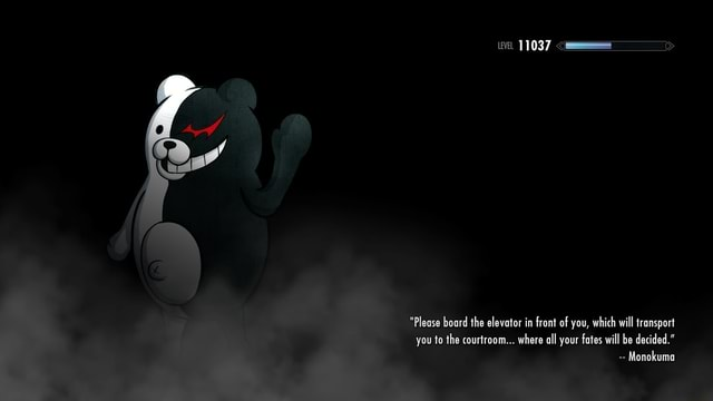 We Please board the elevator in front of you, which will transport you to the courtroom where all your fates will be decided. Monokuma meme