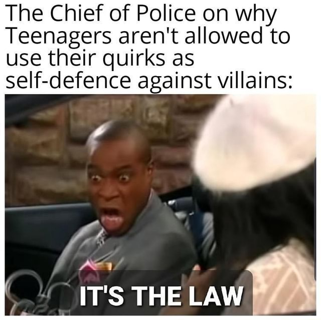 The Chief of Police on why Teenagers aren't allowed to use their quirks as self defence against villains Rev IT'S THE LAW meme