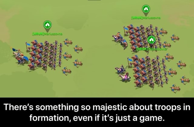 There's something so majestic about troops in formation, even if it's just a game. There's something so majestic about troops in formation, even if it's just a game meme