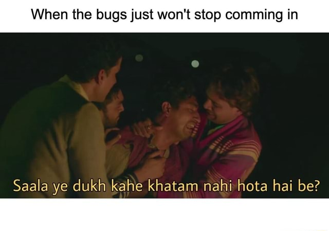 When the bugs just won't stop comming in Saala ye dukh kahe khatam nahi hota hai be memes