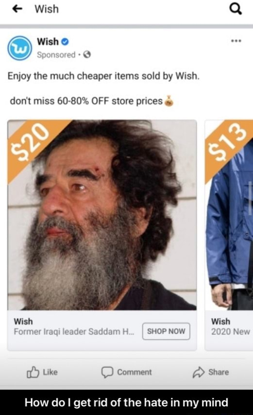 Wish Q  Wish Enjoy the much cheaper items sold by Wish. do not miss 60 80% OFF store prices Wish Wish Former Iraqi leader Saddam H I SHOP NOW 2020 New Like comment Share How do get rid of the hate in my mi  How do I get rid of the hate in my mind memes