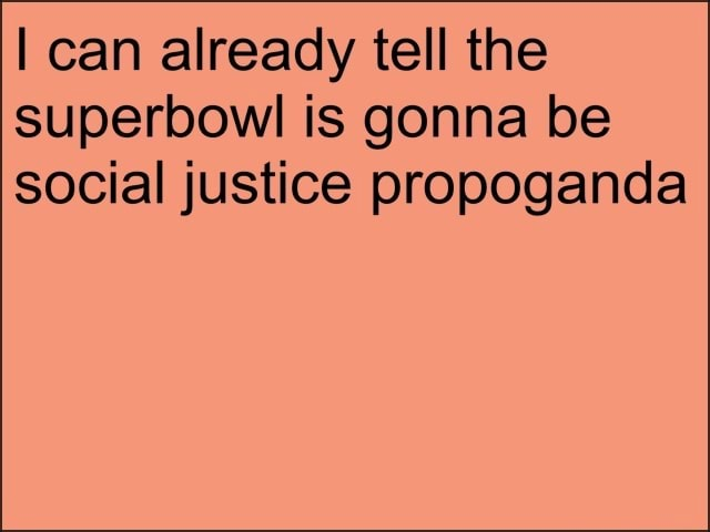 I can already tell the superbowl is gonna be social justice propoganda meme