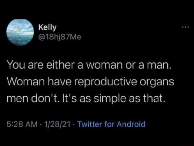 You are either a woman or a man. Woman have reproductive organs men do not. It's as simple as that. AM Twitter for Android meme
