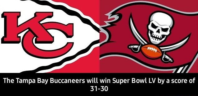 The Tampa Bay Buccaneers will win Super Bowl LV by a score of 31 30 The Tampa Bay Buccaneers will win Super Bowl LV by a score of 31 30 meme