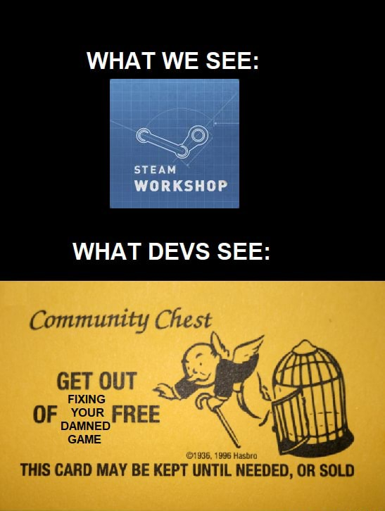 WHAT WE SEE STEAM WORKSHOP WHAT DEVS SEE Community Chest GET OUT FIXING YOUR OF DAMNED FR EE GAME THIS CARD MAY BE KEPT ED ED, meme