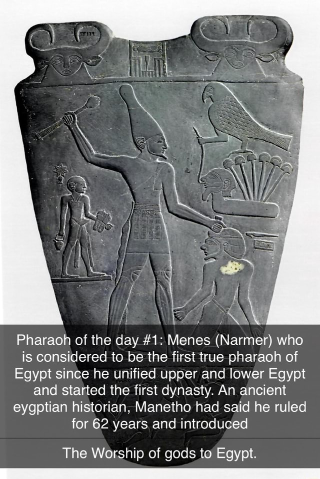 Pharaoh of the day 1 Menes Narmer who is considered to be the first true pharaoh of Egypt since he unified upper and lower Egypt and started the first dynasty. An ancient eygptian historian, Manetho had said he ruled for 62 years and introduced The Worship of gods to Egypt meme