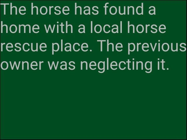 The horse has found a home with a local horse rescue place. The previous owner was neglecting it meme