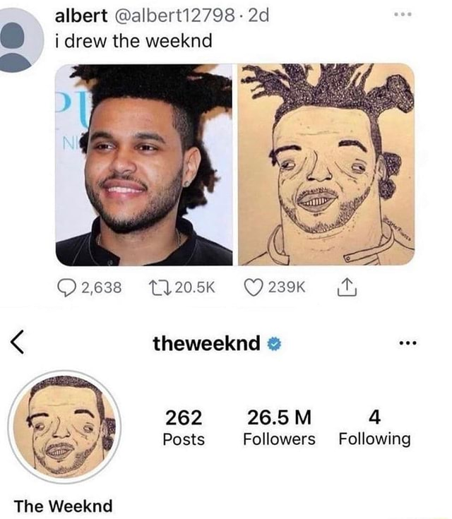 Albert alberti2798  i drew the weeknd O2638 O2zeK theweeknd Thee 26.8 Ml Posts Followers Following memes