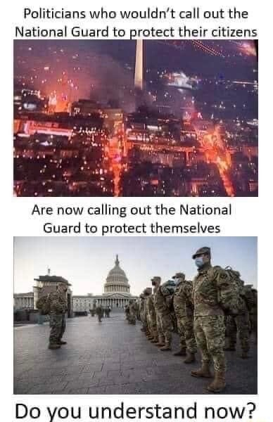 Politicians who wouldn't call out the National Guard to protect their citizens Are now calling out the National Guard to protect themselves De vou understand now memes