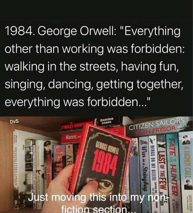 1984. George Orwell  Everything other than working was forbidden walking in the streets, having fun, singing, dancing, getting together, everything was forbidden  ZAILORS Just this into my non memes