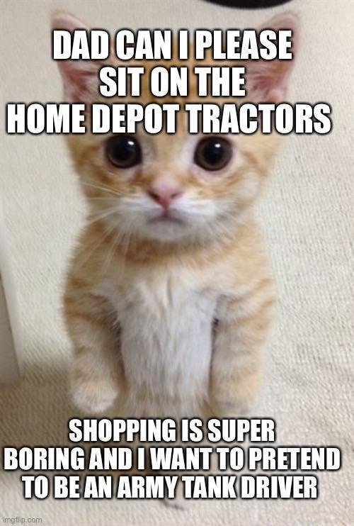 DAD CAN PLEASE SIT ON THE HOME DEPOT TRACTORS SHOPPING IS SUPER BORING AND I WANT TO PRETEND TO BE AN ARMY TANK DRIVER memes