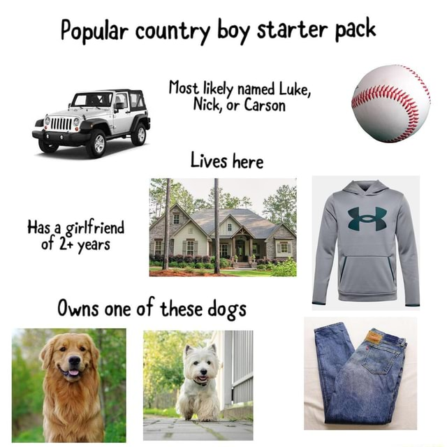 Popular country boy starter pack Most likely named Luke, Lives here Has a girlfriend of de years Owns one of these dags memes