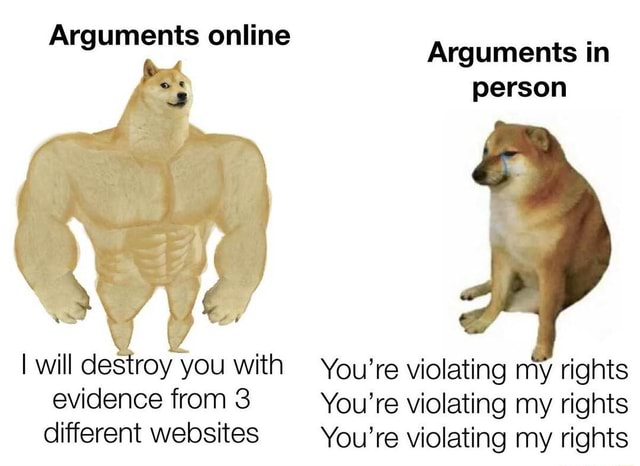 Arguments online Arguments in person ww WS I will destroy you with You're violating my rights evidence from 3 You're violating my rights different websites You're violating my rights memes