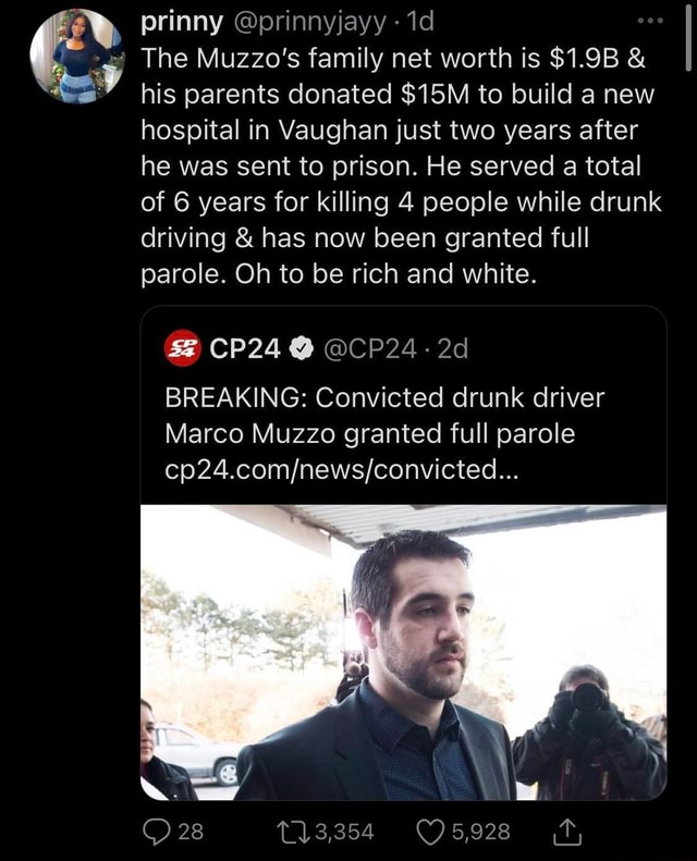 Prinny prinnyjayy The Muzzo's family net worth is $1.9B  and  his parents donated to build a new hospital in Vaughan just two years after he was sent to prison. He served a total of 6 years for killing 4 people while drunk driving  and  has now been granted full parole. Oh to be rich and white. CP24 BREAKING Convicted drunk driver Marco Muzzo granted full parole 28 13,354 meme