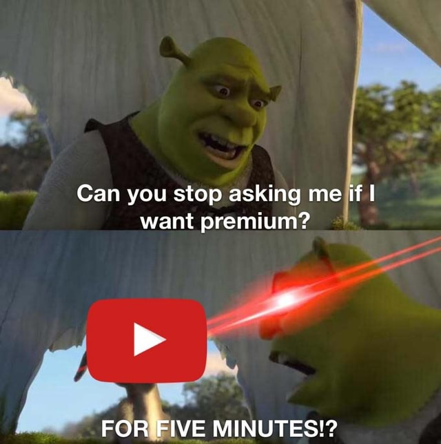 Can you stop asking me if I want premium FOR FIVE MINUTES meme