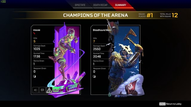 SPECTATE DEATH RECAP SUMMARY CHAMPIONS OF THE ARENA SQUAD fl PLACED mouse Damage Dealt 1025 Survival Time Revive Given Respawn Given Bloodhound Main Kills hg Damage Dealt 2550 Survival Time 2046 Revive Given TOTAL WITH KILLS SQUAD 2 WITH SQUAD Return to Lobby meme