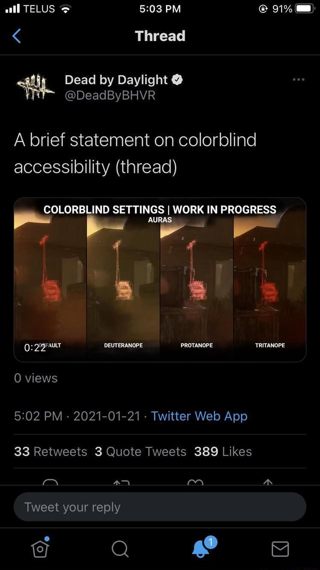 All TELUS PM 91% Thread A brief statement on colorblind accessibility thread COLORBLIND SETTINGS I WORK IN PROGRESS al DEUTERANOPE PROTANOPE TRITANOPE 0 views aN Tweet your reply memes
