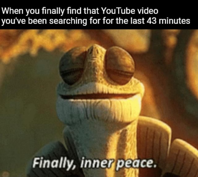 When you finally find that YouTube you've been searching for for the last 43 minutes Finally, innegpeace meme
