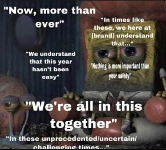 Now, more than in times like. ever these, we here it brand} understand that We understand that this year hasn't been Wothing is more important than easy your salty We're all in this together In these challanging times memes