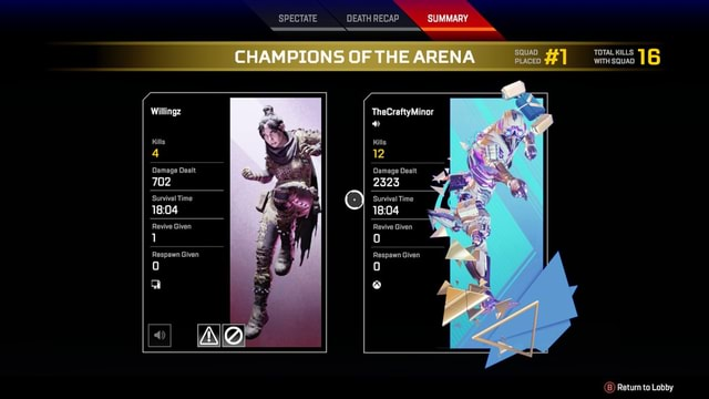 Willingz Kills 4 702 Survival Time 18.04 Revive Given Damage Dealt Respawn Given SPECTATE DEATH RECAP SUMMARY CHAMPIONS OF THE ARENA TOTAL KILLS WITH SQUAD TheCraftyMinor Kills 12 Damage Dealt 2323 Survival Time Revive Given Respawn Given B Return to Lobby meme