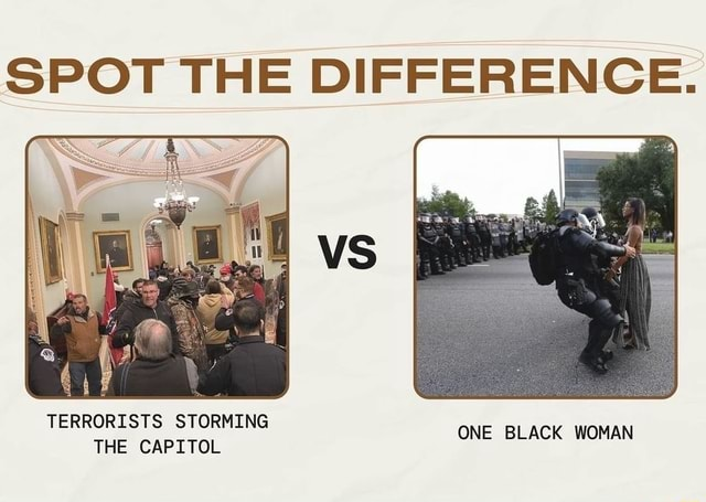 SPOT THE DIFFERENCE. TERRORISTS STORMING NE BLACK WOMAN THE CAPITOL memes