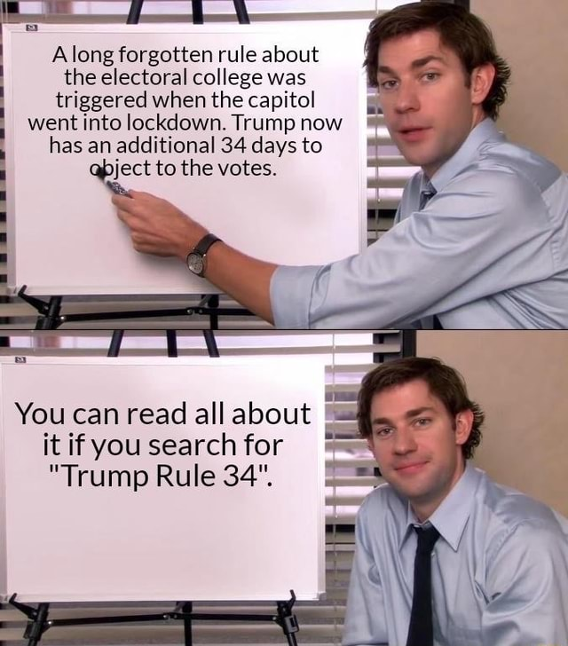 Along forgotten rule about the electoral college was triggered when the capitol went into lockdown. Trump now has an additional 34 days to pject to the votes. You can read all about it if you search for Trump Rule 34 meme
