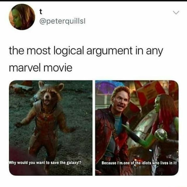 The most logical argument in any marvel movie ag Because I'm.one of the idiots Who lives in it hy would you want to save the galaxy meme