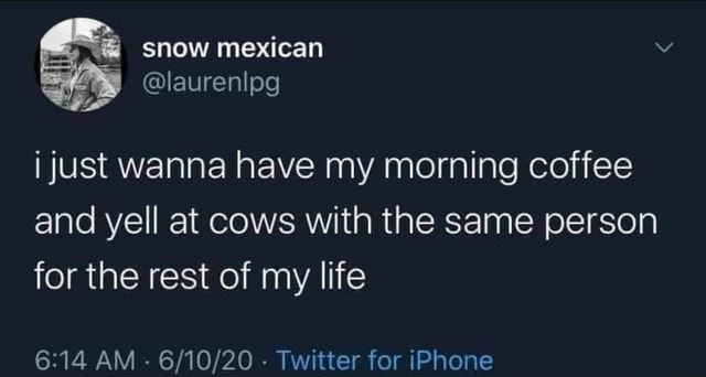 Snow mexican laurenl Pg i just wanna have my morning coffee and yell at cows with the same person for the rest of my life AM Twitter for iPhone memes