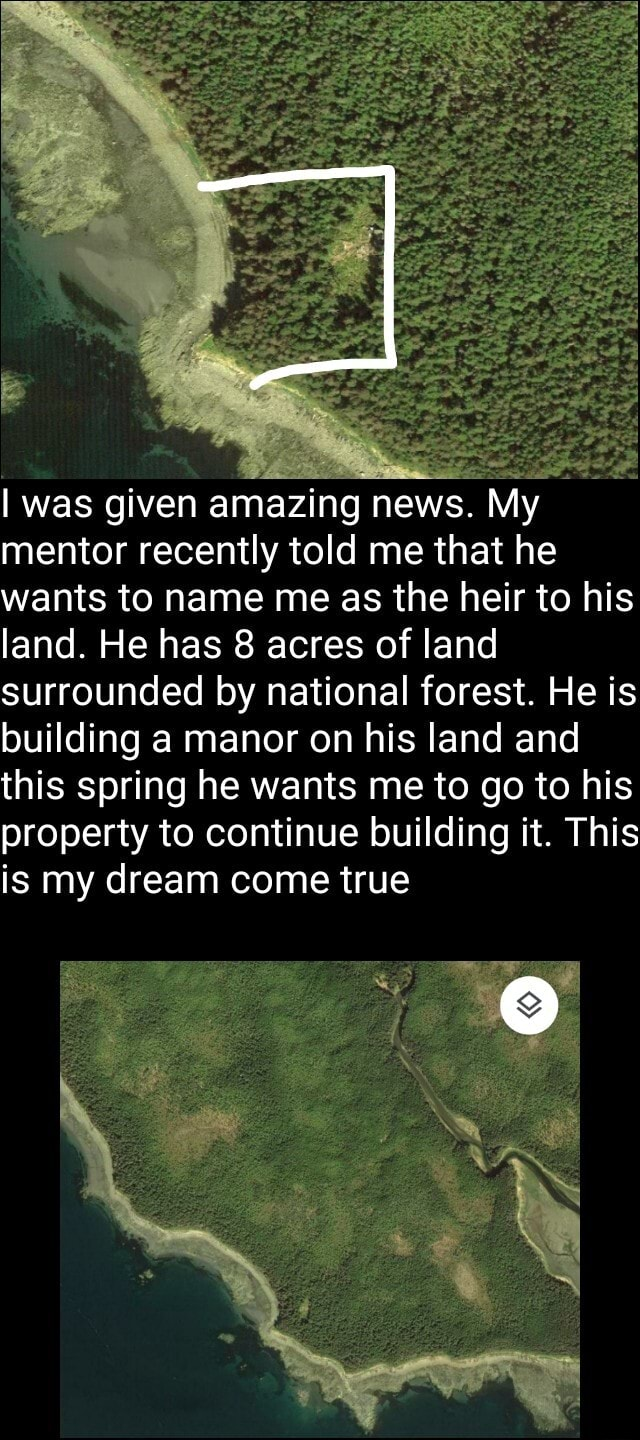 Was given amazing news. My mentor recently told me that he wants to name me as the heir to his land. He has 8 acres of land surrounded by national forest. He is building a manor on his land and this spring he wants me to go to his property to continue building it. This is my dream come true memes