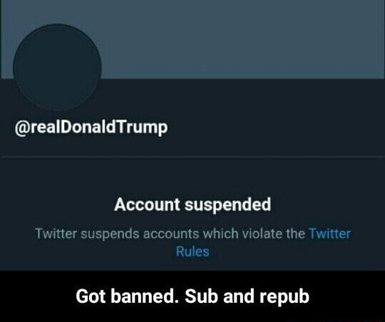 Trump Account suspended Twitter suspends accounts which violate the Twitter Rules Got banned. Sub and repub Got banned. Sub and repub memes