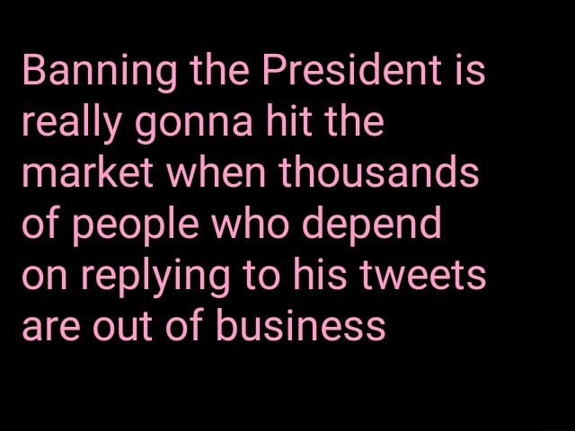 Banning the President is really gonna hit the market when thousands of people who depend on replying to his tweets are out of business meme
