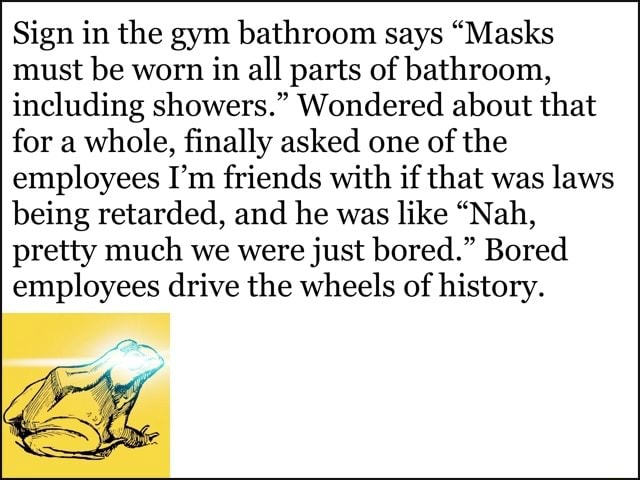 Sign in the gym bathroom says Masks must be worn in all parts of bathroom, including showers. Wondered about that for a whole, finally asked one of the employees I'm friends with if that was laws being retarded, and he was like Nah, pretty much we were just bored. Bored employees drive the wheels of history memes