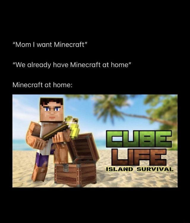 Mom I want Minecraft We already have Minecraft at home Minecraft at home ISLAND SURVIVAL memes