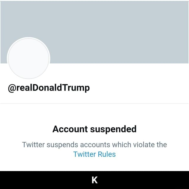 RealDonald Trump Account suspended Twitter suspends accounts which violate the Twitter Rules K memes