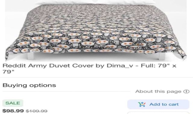 Reddit Army Duvet Cover by Dima vy Full 79 79 Buying options About this page SALE Add to cart $98.99 5109.99 memes