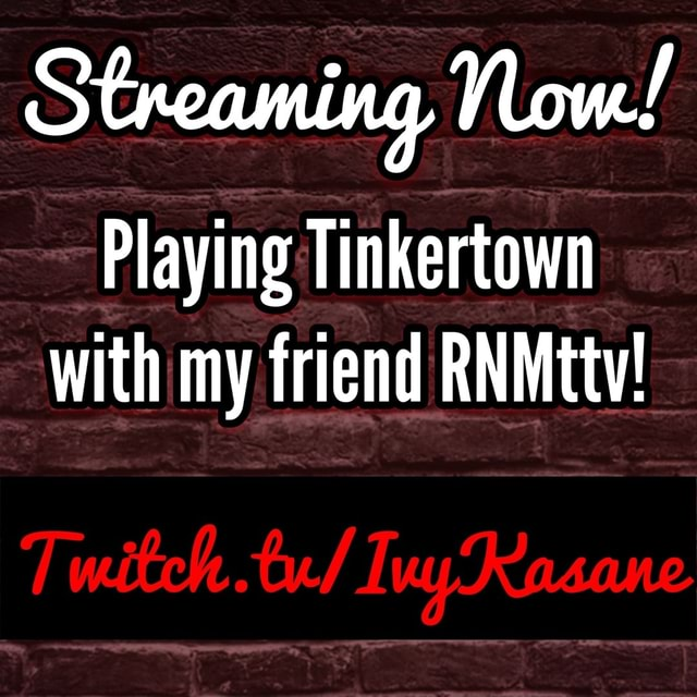 Streaming, Now Playing Tinkertown with my friend RNMttv memes