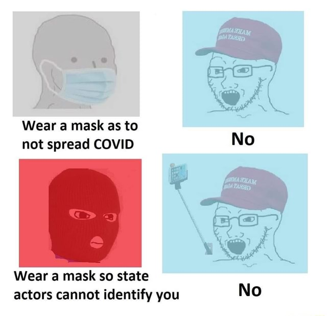 Wear a mask as to not spread COVID No Wear a mask so state actors cannot identify you No memes