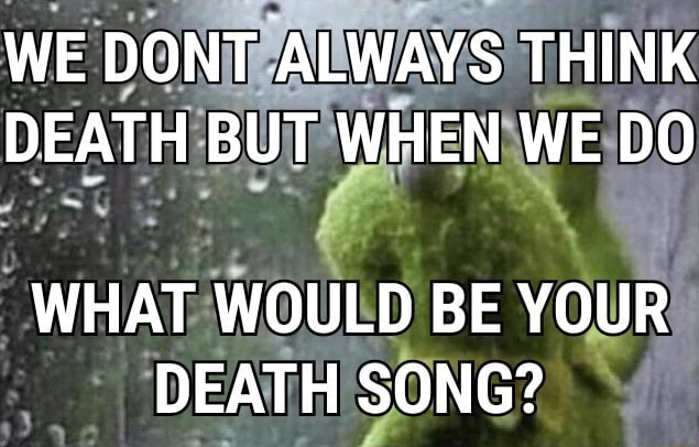 WE DONT ALWAYS THINK DEATH BUT WHEN WE DO WHAT WOULD BE YOUR DEATH SONG memes