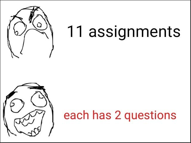 11 assignments each has 2 questions meme