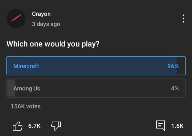 Crayon 3 days ago Which one would you play 96% 4% Minecraft Among Us 156K votes memes