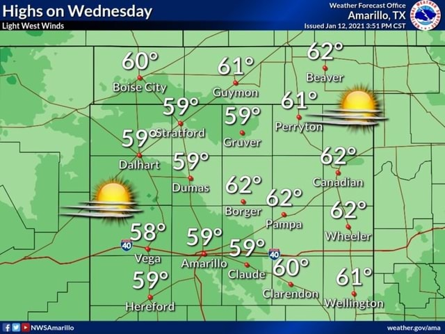 Highs on Wednesday Amarillo, TX ht West Winds Issued Jan 12, PM CST WW Nwsamaritio meme