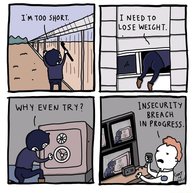 I NEED To LOSE WEIGHT. TOO SHORT. aN INSECURITY BREACH IN PROGRESS meme