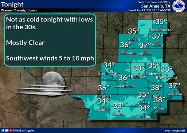 Tonight Warmer Overnight Lows Not as cold tonight with lows in the Mostly Clear Southwest winds 5 to 10 mph a 48 NwssanAngelo Weather Forecast Office San Angelo, TX Issued Jan 13, 2021 AM CST 35 rockmorton sweetwater San Saba male meme