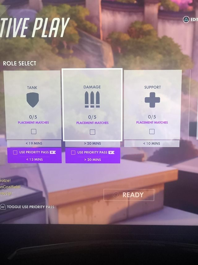ROLE SELECT TANK DAMAGE PLACEMENT MATCHES PLACEMENT MATCHES 19 MINS 20 MINS USE PRIORITY PAS 20 MINS READY rel 13 MINS TOGGLE USE PRIORITY PASS SUPPORT PLACEMENT MATCHES 10 MINS memes