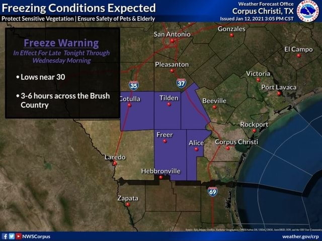 Protect Sensitive Vegetation I Ensure Safety of Pets and Elderly Gonzales San Antonio Freeze Warning tic In Effect For Late Tonight Through Wednesday Morning Pleasanton, Lows near 30 Victoria PortLayaca weather 3 6 hours across the Brush Country meme